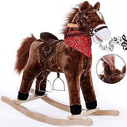 Cheval à Bascule avec étriers, Selle et Fonction sonore, Jeu de Bascule pour Enfant Jouet de Bascule Peluche à bascules