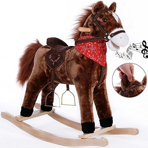 Schaukelpferd Schaukeltier Plüsch Schaukel Wippe Pferd Kinder Baby Spielzeug ✔Geräusche✔Steigbügel+Zaumzeug✔Balancetraining