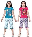 Sinimini Girls Printed Capri Set (Pack Of 2) (AAPL666PU RP RP T DUK555PT PT T 10-11Y)