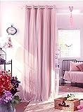 Nibesser Prinzessin Vorhänge 2 Schichten Blickdicht Gardinen Verdunklungsvorhang mit Ösen für Schlafzimmer Kinderzimmer 1 Stück (245cmx140cm, Rosa)