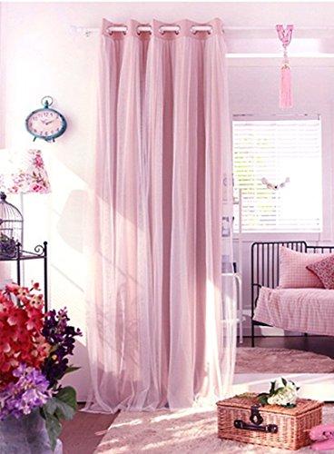 Vorhänge 2 Schichten Blickdicht Gardinen Verdunklungsvorhang mit Ösen für Schlafzimmer Kinderzimmer 1 Stück (245cmx140cm, Rosa) (Rosa Dekoration)