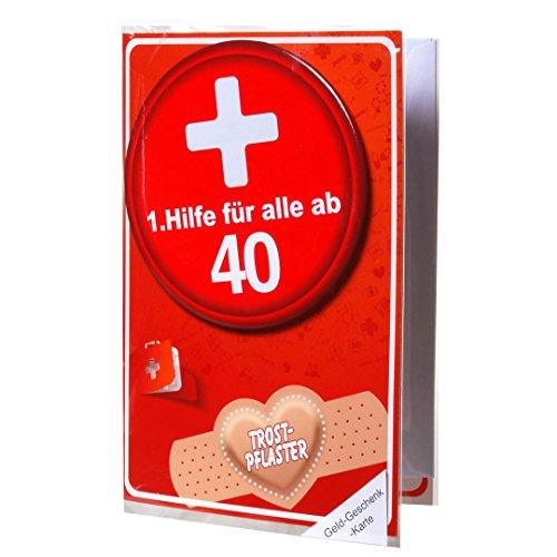 """Geldgeschenk-Karte """"40"""" mit 1.Hilfe Metall Button inkl. Umschlag Glückwunsch Karte 40.Geburtstag"""