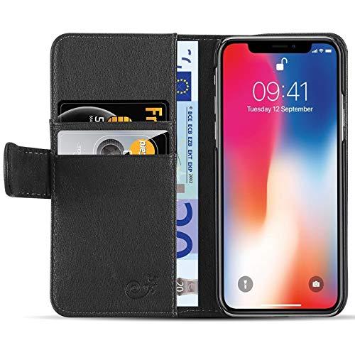 JAMMYLIZARD Lederhülle für iPhone X/Xs | Ledertasche [ Classic Wallet Tasche Series ] Leder Book Case Hülle Flip Cover Schutzhülle mit Kartenfach, Schwarz