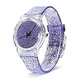 Sonew Relojes de cuarzo para mujer brillo reloj de pulsera en polvo caja de dial redondo cómodos relojes de correa de plástico para adolescentes reloj de señora Relojes femeninos(Púrpura)