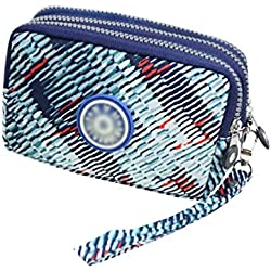 Yuanu Mujer Moda Casual Multicapa Monedero Bolso Cómodo Durable Tres Cremalleras Billetera Azul Claro Rayas 15 * 7 * 10cm
