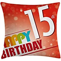15th Birthday Decorations Throw Pillow Cushion Cover, Happy Fifteenth Birthday Concept Greetings Rays Colorful Retro