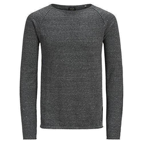 Knit Tee (JACK & JONES Herren Langarm Shirt JJEUNION Knit Crew-Neck Tee T 12137172 S,M,L,XL,XXL (XL, 1 Dunkelgrau))