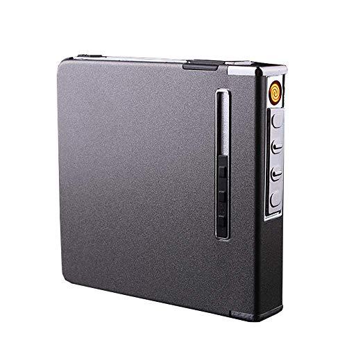 Cigarrillo Estuche de Cigarrillos, Paquete de 20 Unidades portátiles con Carga, Encendedor,...