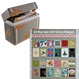 24 Karten mit Umschlägen in grauer Box. Geburtstagskarten, Weihnachtskarten und für sonstige Anlässe. Erhabener Druck - brillante Farbqualität! Klappkarten Grußkarten Weihnachten Karten