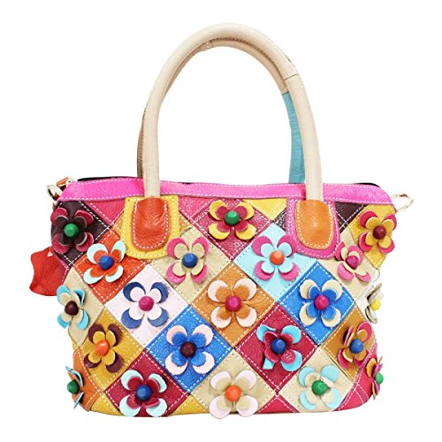 Frauen-Art Und Weiseblumen-Rindlederhandtasche Kurierbeutel A