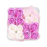 Txyk Jabón de baño con Aroma Floral Pétalos de Rosa con Flores, Cajas de Regalo, 16 Piezas, Regalos para Ella Mujeres Adolescentes Chicas Mamá Navidad San Valentín Rosa y Blanco