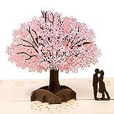 YHmall Carte 3D Carte Pop Up Carte de Voeux pour Anniversaire Mariage Forme d'Arbre de Sakura Couple Romantique