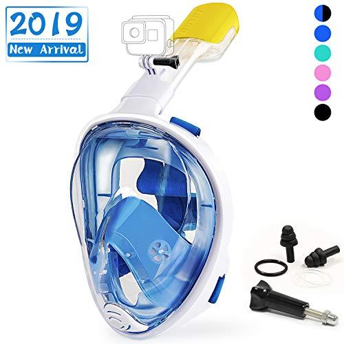 OUSPT Tauchmaske, Schnorchelmaske Vollmaske mit 180° Sichtfeld, Vollgesichtsmaske Tauchen mit Ohrenstöpsel, Anti-Fog Anti-Leck, für Kinder Erwachsene -