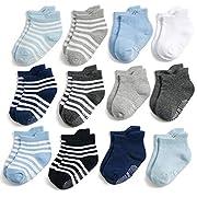 Yafane 12 Paar Baby Socken Antirutsch Anti-Rutsch Kinder Kleinkinder Babysocken für Baby Jungen und Mädchen (Jungen, 0-1 Jahre)