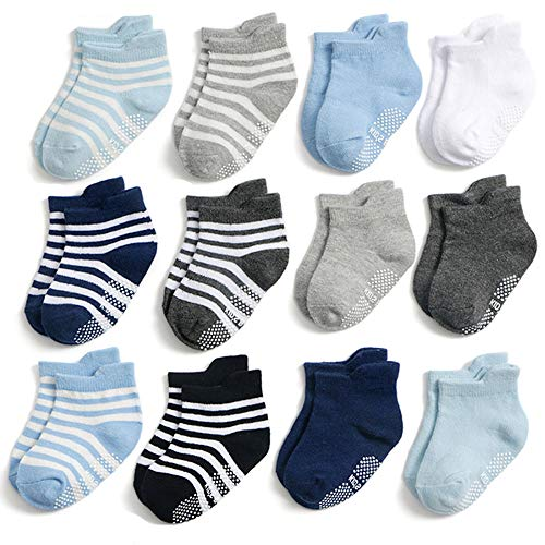 Yafane 12 Paar Baby Socken Antirutsch Anti-Rutsch Kinder Kleinkinder Babysocken für Baby Jungen und Mädchen (Jungen, 1-3 Jahre)