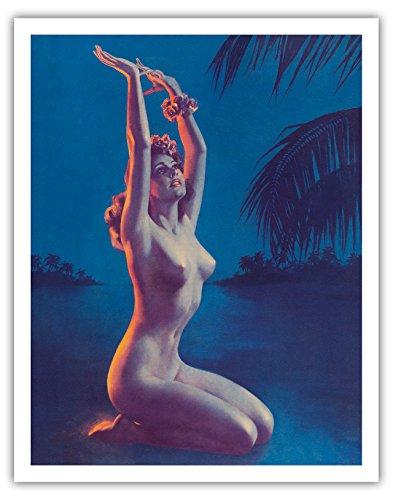 Pacifica Island Art Sternenklare Nacht in Hawaii - Tropische nackte Hula-Tänzerin - Vintage Retro Pin Up Kalender Seite von Zoë Mozert c.1930s - Kunstdruck - 28cm x 36cm