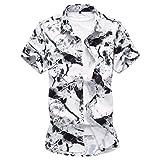 WanYangg Uomo Camicia Hawaiana Estate Aloha Manica Corta Shirts Floreale Vintage Maglietta Funky Casual Top Fantasia Shirt Bianco&Nero L