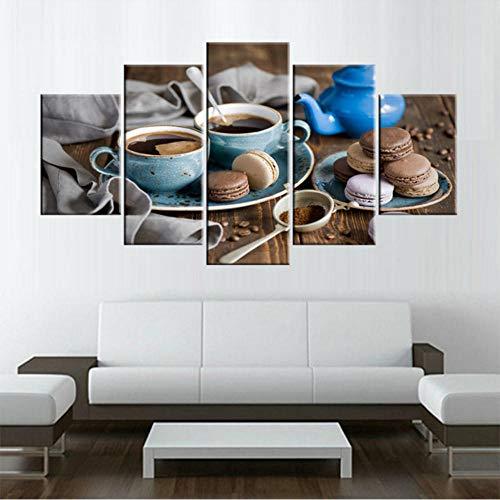 Xzfddn Leinwandbilder An Der Wand Für 5 Stück Die Macaron Frühstück Küche Essen Zitat Drucken Dampfende Kaffeetasse Malerei Essen-30X40/60/80Cm,With Frame (Beste Halloween Essen)