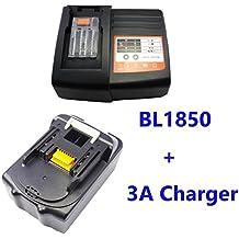 1pcs 5,0 A BL1850. sustituir Herramientas batería para Makita BL1830 BL1815 BL1840 BL1850. 10 zellens con 1pcs Cargador para Makita 3 A DC18RA DC18SC dc1803 dc14sa DC1804