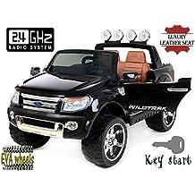 FORD RANGER Wildtrak de lujo, Negro Lacado, producto BAJO LICENCIA, con mando a distancia 2.4Ghz Bluetooth, apertura de puertas y capó, os asientos en cuero, Ruedas EVA Suave