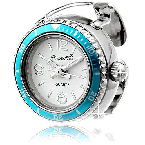 Die edle Funice Design Ringuhr Crystal Tourquoise (blau) - Die Damenuhr im Ring Design