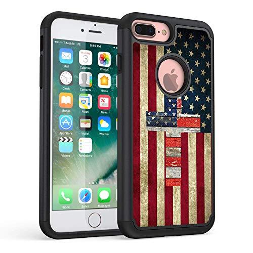 American Standard Cross (Rossy Schutzhülle für iPhone 8 Plus, strapazierfähig, Hybrid-TPU-Kunststoff, doppellagige Armor Defender Schutzhülle für Apple iPhone 7 Plus/8 Plus, 14 cm, amerikanische Flagge mit Kreuz)
