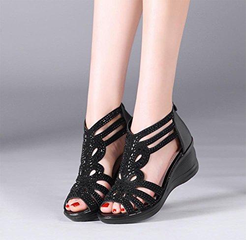 de37e88ab53c1b Sommer Sandalen weiblicher Fischkopf Muffin mit schweren Boden Schuhe Black  ...