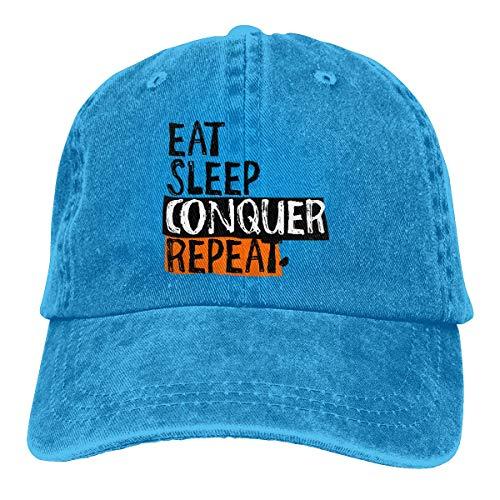 Cowboy Hat Eat Sleep Conquer Repeat Denim Skull Cap Baseball Cowgirl Sport Hats for Men Women Cowgirl Cadet Cap