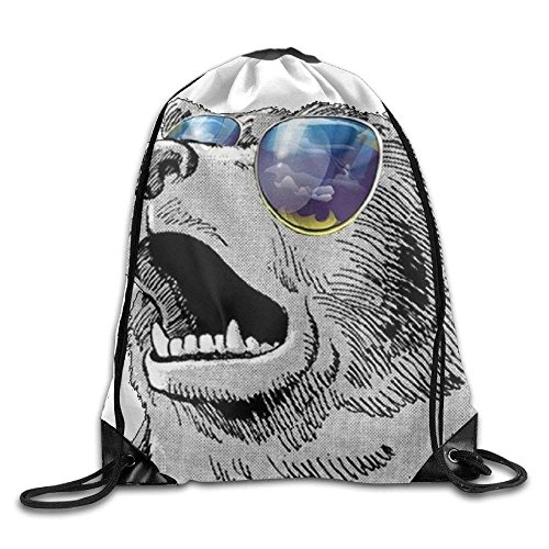 Cool Bear with Sunglass Gym Drawstring Backpack Unisex Portable Sack Bags