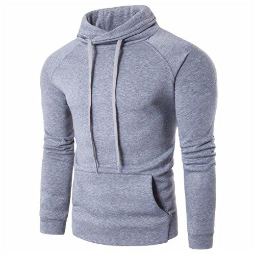Herren Slim Fit Pullover Mode Baumwoll T-Shirts Männer Langarm Casual Tops (M, Grau)