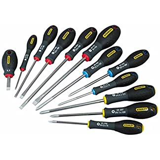 Stanley 0-65-426 Juego 12 destornilladores FatMax, puntas plana, Pozidrivee y Phillips