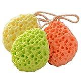 Millya 3colori bagno doccia spugna esfoliante viso, corpo Scrubber Mesh Ball con Loop, Confezione da 3