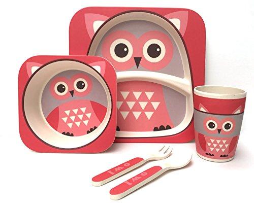 Pour-enfant-5-pices-en-bambou-de-table–100-fibre-de-bambou-respectueux-de-lenvironnement-passe-au-lave-vaisselle-Chouette