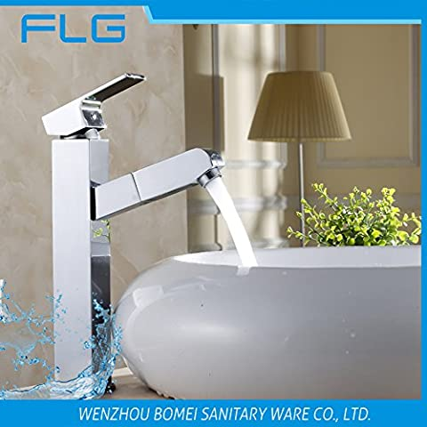 Maifeini Pull Out The Fuel Injection Single Lever Chrome Plated Brass Finish High-End Square Bathroom Sink Faucet, Washbasins