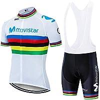 Verano Conjunto Ciclismo, Traje Bicicleta Cortos para Hombre Maillot Ciclismo Mangas Cortas y Culotte Pantalones Cortos con 5D Gel (XXL, M-WT1)