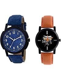 The Shopoholic Combo Latest Fashionable Blue And Black Mahadev Dial Analog Watch For Boys Leather Belt Watch For...