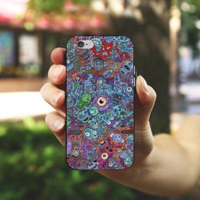 Apple iPhone 4 Housse Étui Silicone Coque Protection Bande dessinée couleurs Chaos Housse en silicone noir / blanc