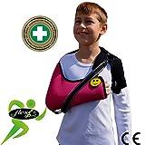 Écharpe D'immobilisation D'épaule De Bras Enfant (FRAMBOISE 9-12ans) ✔ Poche de bras est grande profonde 'DE LUXE' ✔Conception unique pour prévention de la douleur au cou. Unisexe.