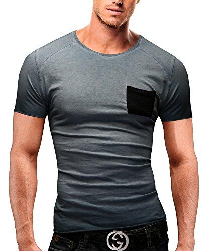 Merish Herren T-Shirt Poloshirt Slim Fit Roundneck Kurzarm Brusttasche 73 Blau L (Hoch Brusttasche T-shirt Und Groß)