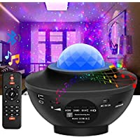 Lámpara Proyector de Luz Estelar, Proyector LED de Luz Nocturna Giratorio Estrellas Océano con Altavoz Bluetooth Temporizador, Proyector Color Reproductor de Música con Remoto, Niños Decoración Regalo