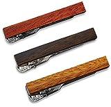 3-er Packung Dünn Skinny Krawattenklammer / Krawattennadel 4 cm Holz Geschenkbox von Puentes Denver
