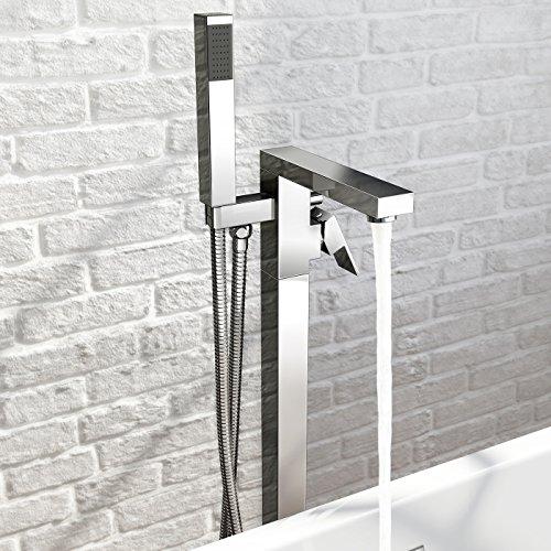 iBathUK Freestanding Bath Filler Mixer Tap Chrome Hand Held Shower Head Set TB3086