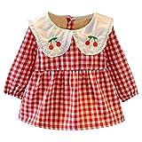 Kobay Babykleid Festlich Neugeborenes Baby Mädchen Langarm Kirschdruck Plaid Kleid Outfit Kleidung(12-18M,Rot)