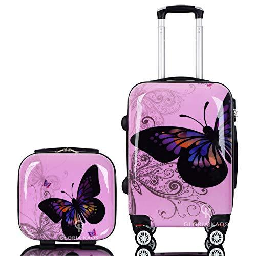 Gloria Kaos - Set Bis - Trolley Bagaglio a Mano Valigia Ultra Leggero In Policarbonato Flessibile (Farfalla Rosa 55cm + Vanity Case)