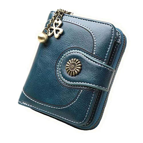 Coopay Monedero pequeño compacto Mini billetera cuero