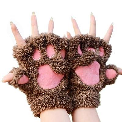 katomi Herbst und Winter Half Finger Handschuhe Bear Claw Cute Cartoon Cat Claw Handschuhe Warm Dick