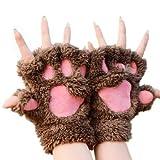 Mitones Katomi para otoño e invierno con diseño en forma de garra de oso y de gato, gruesos y de abrigo Marrón marrón oscuro Tamaño libre