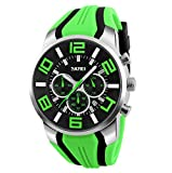 Mode Sport Herrenuhren - Silikon Armband Sub-Dials Chronograph Stoppuhr Analog Datum Quarzuhr Armbanduhren für Männer, Grün