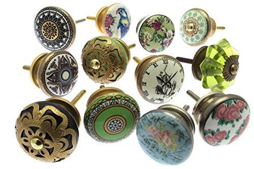 Mélange Lot de Shabby Chic Style Vintage poignées pour placards céramiques x Pk 10 (MG-263) - 'Vintage-Chic' TM Produit