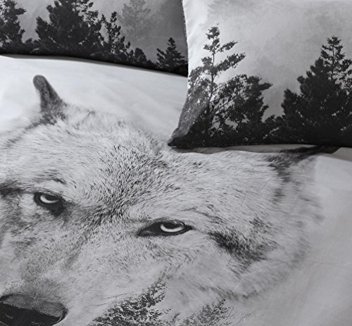 Wolf Panel Snow Life Animal Print 3D Design Duvet Cover Quilt Bedding Set with Pillowcases By Pieridae (Single)